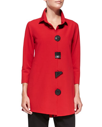 3/4-Sleeve Travel Gabardine Shirt, Red, Petite