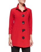 3/4-Sleeve Travel Gabardine Shirt, Red, Women's