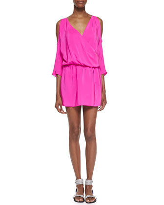 Cold-Shoulder Draped Silk Dress, Hot Pink