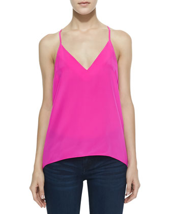 Sleeveless Charmeuse Cricket Top, Hot Pink