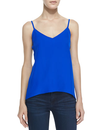 Strappy Charmeuse Tank Top, Royal