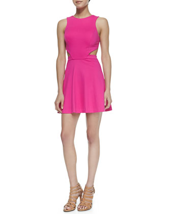 Wallis Cutout Ponte Dress, Hot Pink