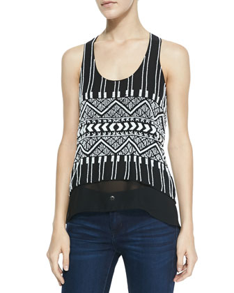 Tribal Beaded Layered Tank, Black
