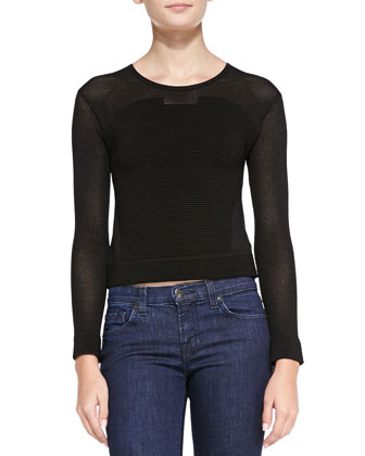 Stratton Ottoman-Knit Combo Crop Top, Black