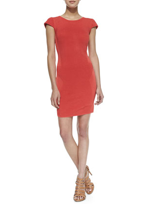 Delilah Mixed Knit Sheath Dress, Blazing