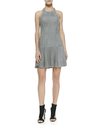 Leona Perforated Suede Halter Dress, Slate