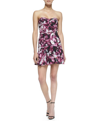 Britney Floral Print Quilted Flounce Dress, Rosewood Floral Haze