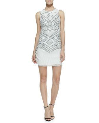 Allegra Diamond Chevron Beaded Dress, White