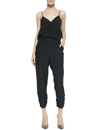 Liv Cross-Front Ruched Silk Jumpsuit, Black