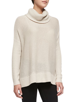 Oversized Knit Turtleneck Sweater, Oatmeal
