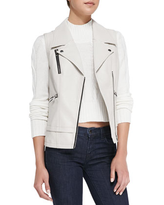 Pebbled Faux-Leather Moto Vest, White Smoke
