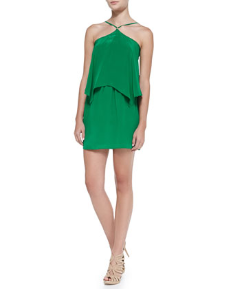 Tiered Flutter Halter Dress, Green