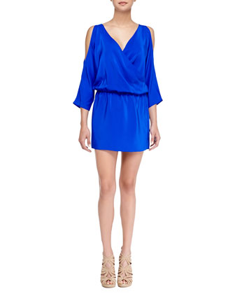 Cold-Shoulder Charmeuse Crossover Dress, Royal Blue