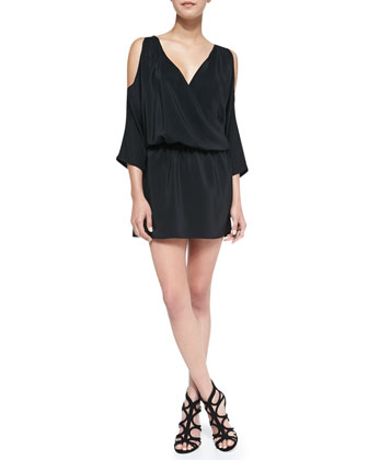 Cold-Shoulder Draped Silk Dress, Black