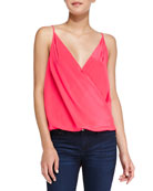 Crossover Draped Charmeuse Tank Top, Electric Rouge