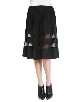 Gathered Mesh Inset A-Line Skirt, Black