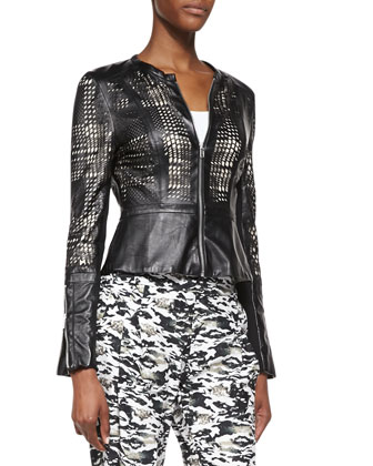 Octavia Laser-cut Leather Jacket