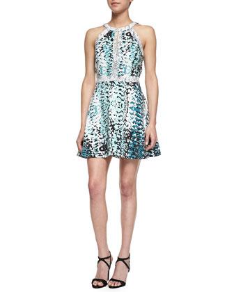 Nika Mixed Print Fit-And-Flare Dress, Jurassic