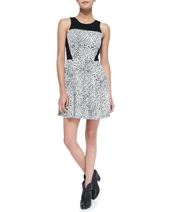 Ramona Cutout-Back Snake-Print Dress, Black/White