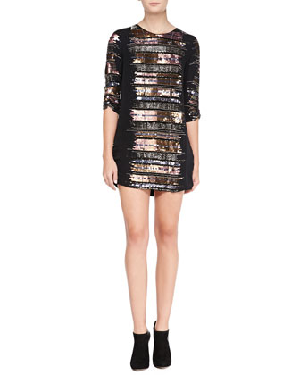 Michelle Bead-Embellished Ruched Cocktail Dress, Copper