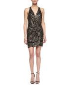 Reina Geometric Beaded Wrap Dress, Black