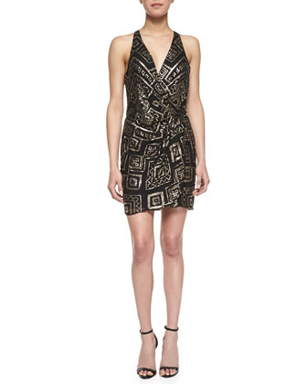 Reina Geometric Beaded Wrap Dress, Black