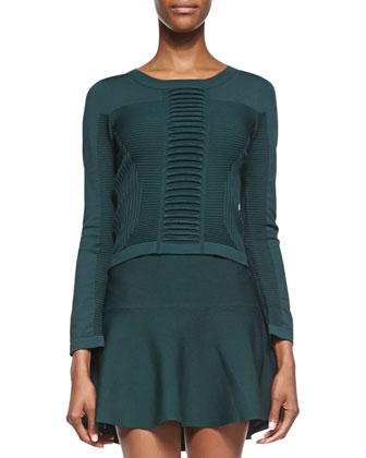 Solis Textured Knit Crop Sweater, Envy