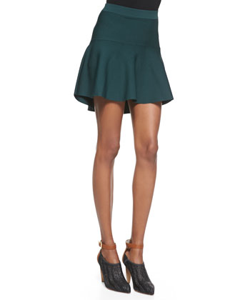 Jeanne Stretch Knit High-Low Skirt, Envy