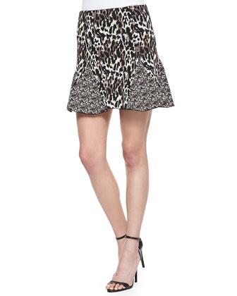 Kenna Mixed Animal-Print Godet Skirt, Camel