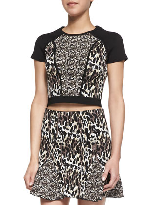 Langley Mixed Animal-Print Crop Top, Camel