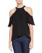 Rose Cold-Shoulder Silk Top, Black