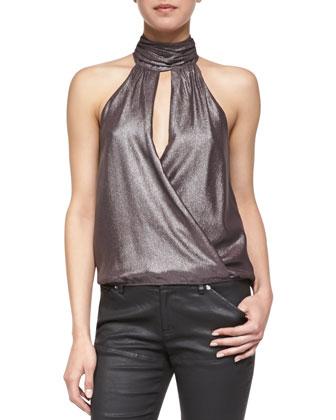 Peeta Shimmer Cross-Front Halter Top, Garnet