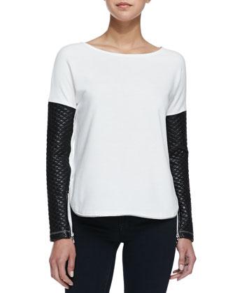 Zipper Trimmed Quilted Leather Sweatshirt, Cream/Black