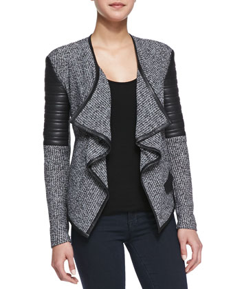 Bonded Faux-Leather Boucle Cardigan, Charcoal
