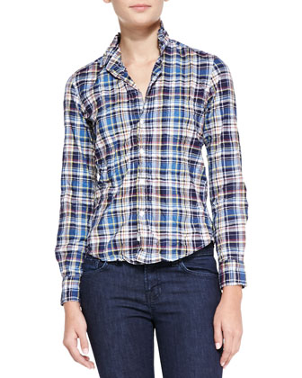Barry Plaid Button-Down Shirt, Navy