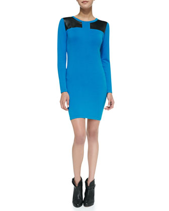 Faux-Leather Inset Stretch Jersey Body-Con Dress, Blue