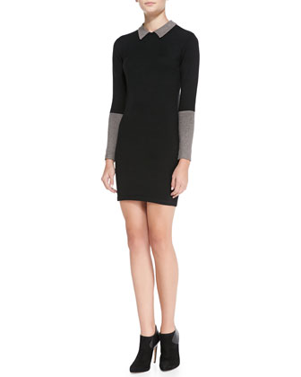 Peter Pan Contrast-Collar Sweater Dress, Black/Gray