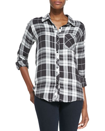 Hunter Long-Sleeve Oversized Plaid Top, Charcoal/White