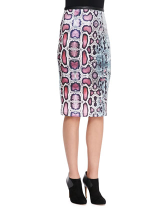 Two-Tone Snake-Print Scuba Skirt, Blue/Magenta