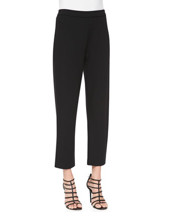 Broken Stripe Sweater & Ponte Slim Ankle Pants, Petite