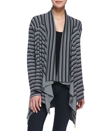 Striped Cascading Thermal Cardigan, Asphalt