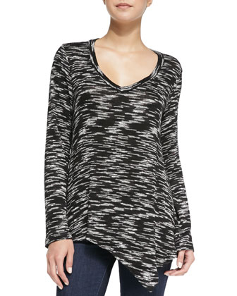 Carlow Space-Dyed Asymmetric Top, White/Black