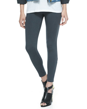 Downtown Houndstooth Zip-Detailed Pants, Gunmetal