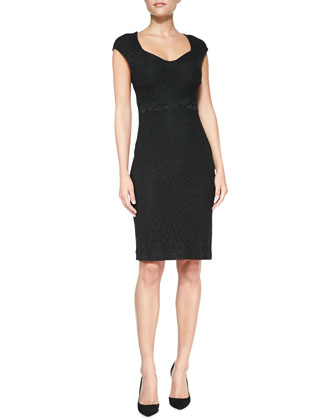 Katrina Cap-Sleeve Lace Sheath Dress