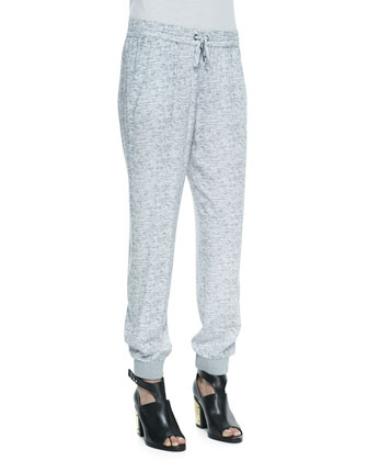 Aveley Melange Print Drawstring Pants, Heather Gray