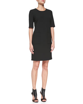 Half-Sleeve Shift Dress with Pockets