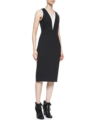 Lauren Sleeveless Two-Tone Dress
