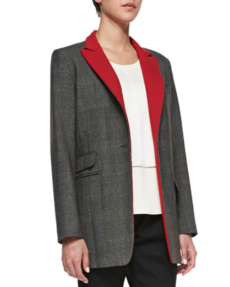 Paloma Contrast-Lapel Wool Blazer, Alex Open-Stitch Detail Knit Top & Em ...