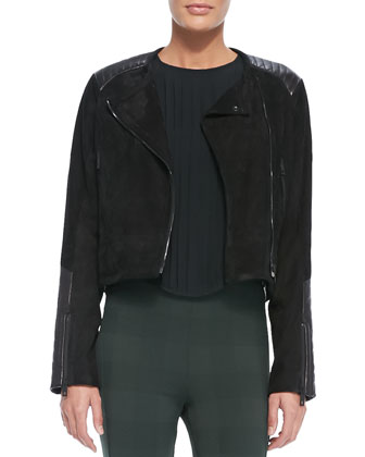 Elettra Leather/Suede Cropped Jacket, Simone Pintucked Contrast-Side Blouse ...