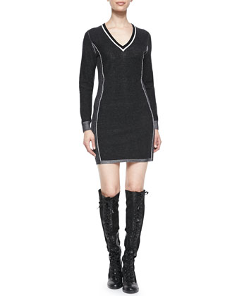 Taylor Metallic-Trim Sweater Dress